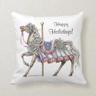 Winter Carousel Horse Drawing Pillow