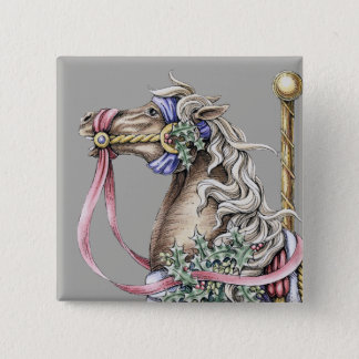 Winter Carousel Horse Drawing Square Button