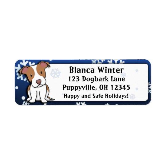 Winter Cartoon American Pit Bull Terrier