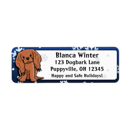 Winter Cartoon Ruby Cavalier King Charles Spaniel Return Address Label