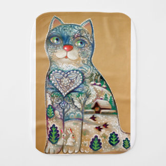winter cat burp cloth