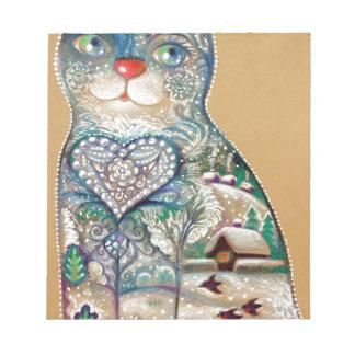 winter cat notepad