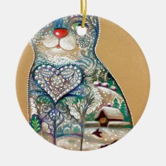 winter cat round ceramic ornament