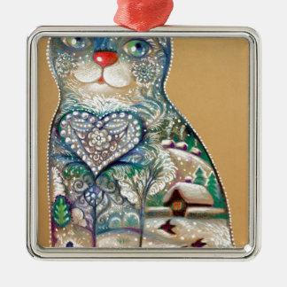 winter cat Silver-Colored square ornament