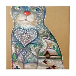 winter cat tile
