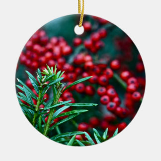 Winter Cedar and Berries Ceramic Ornament