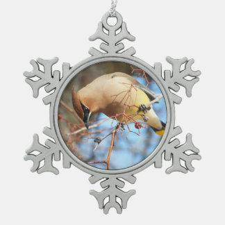 Winter Cedar Waxwing in Tree Pewter Snowflake Ornament