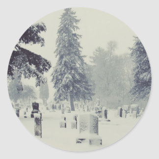 Winter Cemetery Classic Round Sticker