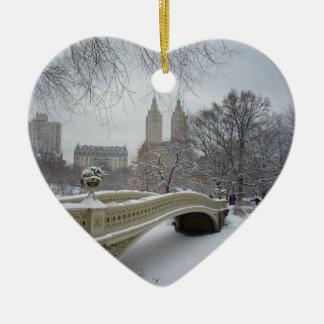 Winter - Central Park - New York City Ceramic Heart Ornament