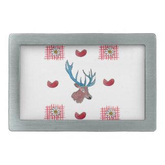 Winter Chalet deer with heart Belt Buckles