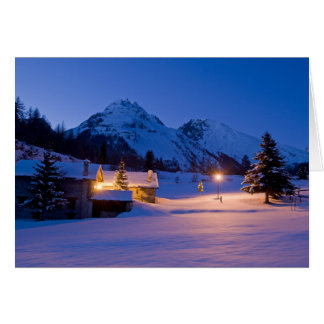 Winter chalets sunrise card