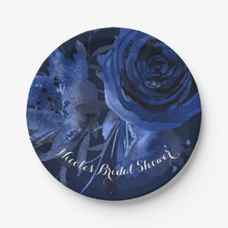 Winter Chic Floral Blue Rose Bold Wedding Paper Plate