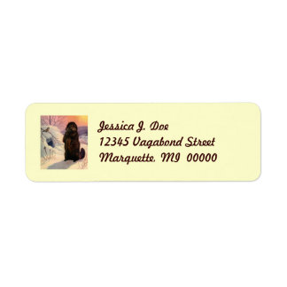 Winter Chickadee & Beaver Return address Label