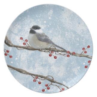 Winter Chickadee Plate