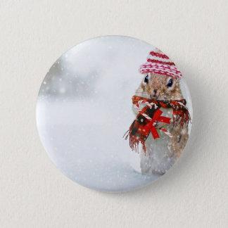 Winter Chipmunk Knit Hat Red Scarf Bundled Up 2 Inch Round Button