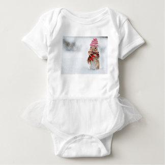 Winter Chipmunk Knit Hat Red Scarf Bundled Up Baby Bodysuit