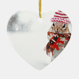 Winter Chipmunk Knit Hat Red Scarf Bundled Up Ceramic Ornament
