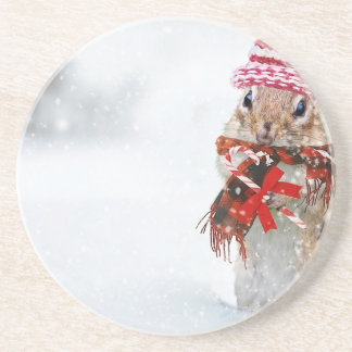 Winter Chipmunk Knit Hat Red Scarf Bundled Up Coaster