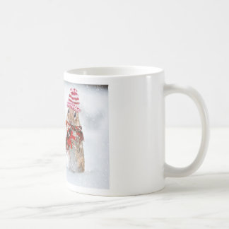 Winter Chipmunk Knit Hat Red Scarf Bundled Up Coffee Mug
