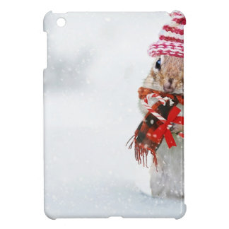 Winter Chipmunk Knit Hat Red Scarf Bundled Up iPad Mini Covers