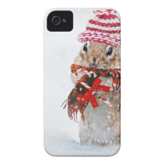 Winter Chipmunk Knit Hat Red Scarf Bundled Up iPhone 4 Cover