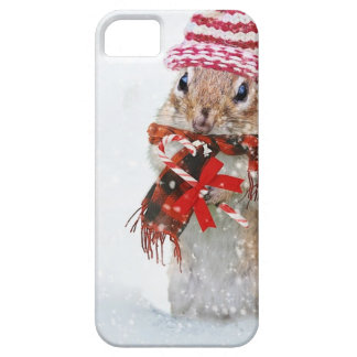 Winter Chipmunk Knit Hat Red Scarf Bundled Up iPhone 5 Cover