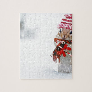 Winter Chipmunk Knit Hat Red Scarf Bundled Up Jigsaw Puzzle