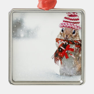 Winter Chipmunk Knit Hat Red Scarf Bundled Up Metal Ornament