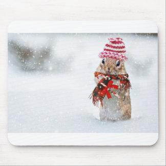 Winter Chipmunk Knit Hat Red Scarf Bundled Up Mouse Pad