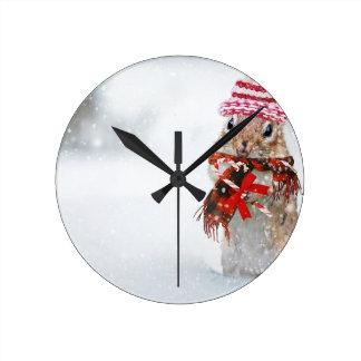 Winter Chipmunk Knit Hat Red Scarf Bundled Up Round Clock