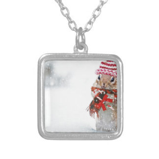 Winter Chipmunk Knit Hat Red Scarf Bundled Up Silver Plated Necklace