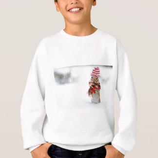 Winter Chipmunk Knit Hat Red Scarf Bundled Up Sweatshirt