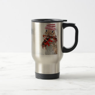 Winter Chipmunk Knit Hat Red Scarf Bundled Up Travel Mug