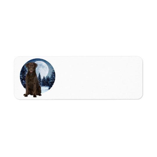 Winter Choco Lab Return Address Label