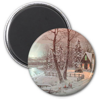 Winter Christmas Church Scene Magnet