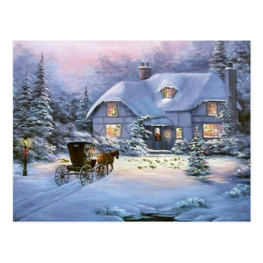 Winter Christmas Cottage Postcard