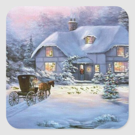 Winter Christmas Cottage Square Sticker