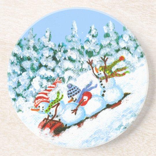 Winter Christmas drink coaster,snowmen Coaster