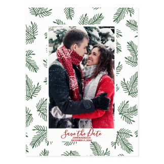 winter christmas festive save the date postcard