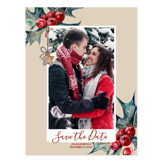 winter christmas holly save the date postcard