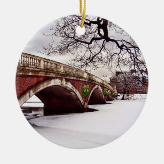 Winter Christmas on the Charles River Boston Round Ceramic Ornament