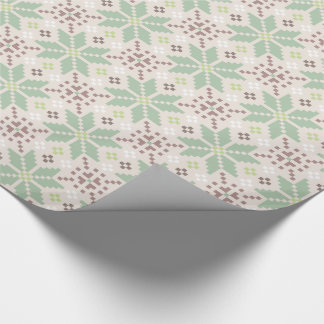 Winter Christmas Pastel Pixel Floral Pattern Wrapping Paper