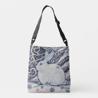 Winter Christmas Rabbit Blue White Navy Tote Purse