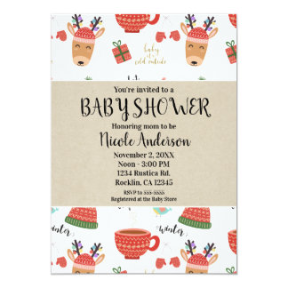 Winter Christmas Rustic Kraft Holiday Baby Shower Card