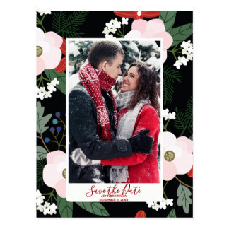 winter christmas save the date postcard modern