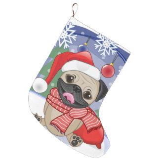 Winter & Christmas Time Pug Large Christmas Stocking