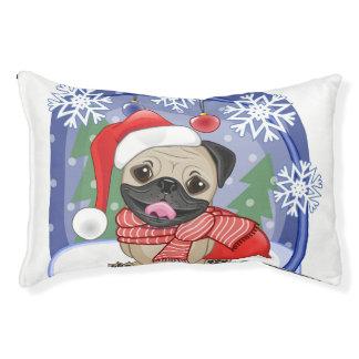 Winter & Christmas Time Pug Small Dog Bed