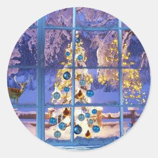 Winter Christmas Tree Lights Baubles Festive Mood Classic Round Sticker
