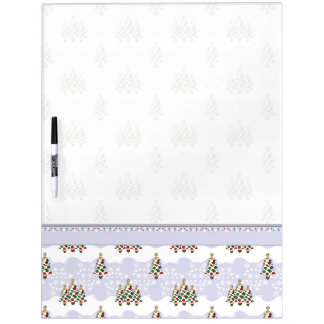Winter Christmas Tree Pattern With Border Dry Erase Board