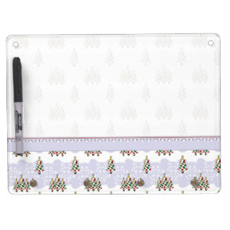 Winter Christmas Tree Pattern With Border Dry Erase Board With Keychain Holder